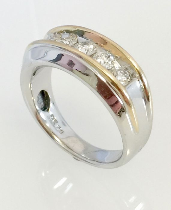 14 quilates Oro, Oro blanco - Anillo 1.03 quilates de diamantes