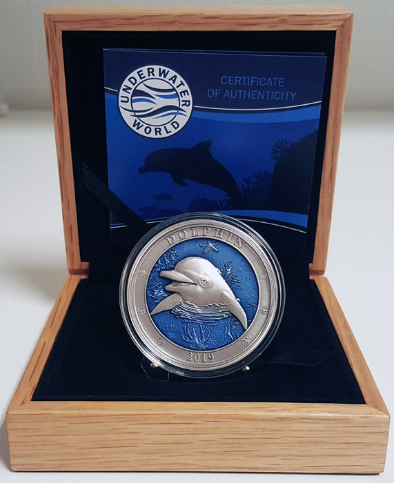 Barbados - 5 Dollar 2019 Dolphin - Underwater World -  3 Oz - Silver