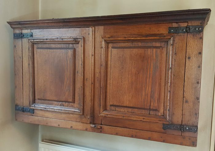 Wall Cabinet With Wrought Iron Hinges   Oak, Wood   19th Century