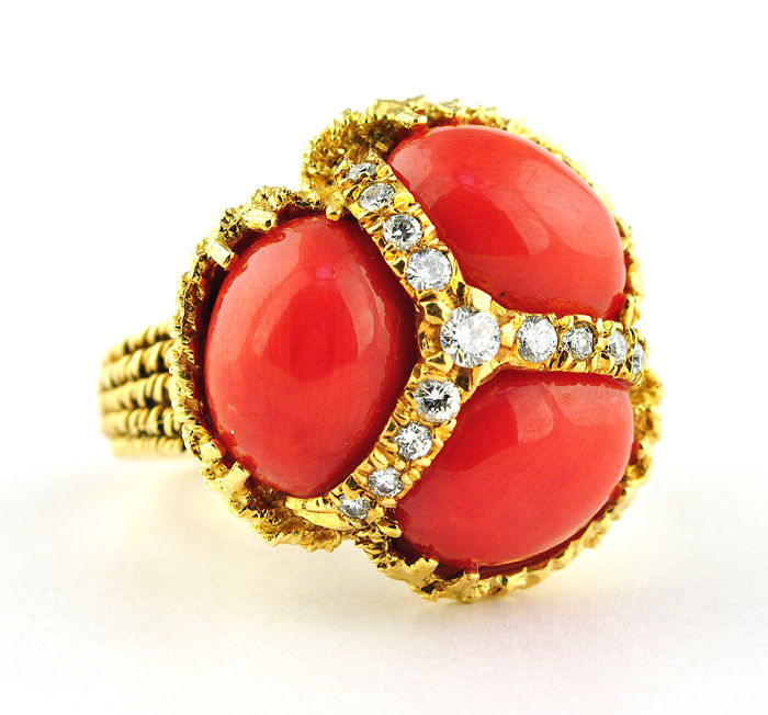 1960's Trio Natural Red Precious Coral & Diamond (tot.0.40-0.45ct G/VS) Cocktail Ring set on Handmade 18k Yellow Gold