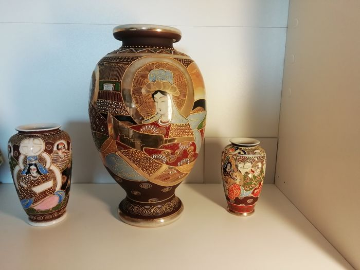 Three Japanese Vases Japan First Halfmiddle Of The 20th Century