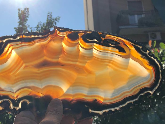 Agate (variety of quartz) Orange shadows - 36x14x0,5 cm - 350 g