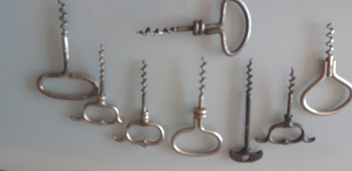 lot of 8 collection corkscrews 19 and 20th century including a foldable