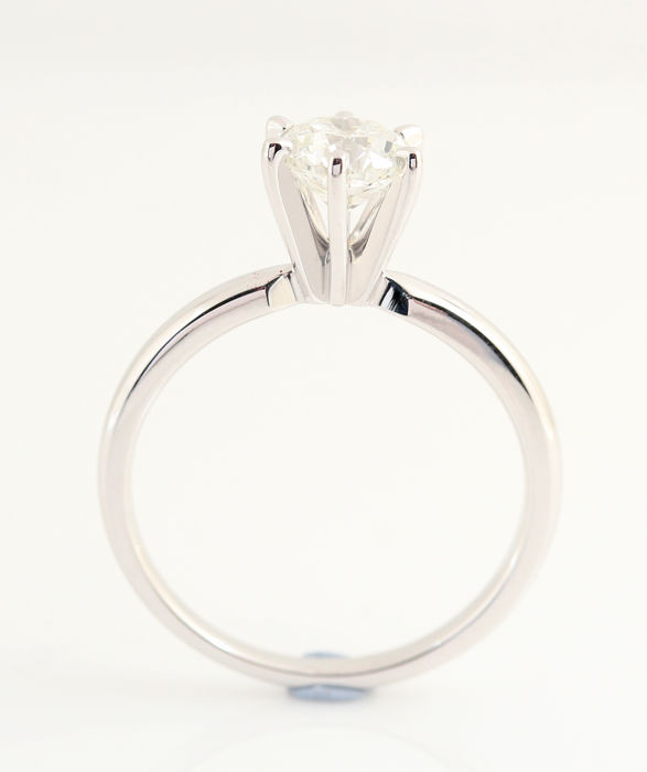 Ring - White gold - Natural (untreated) - 1 ct - Diamond and Diamond