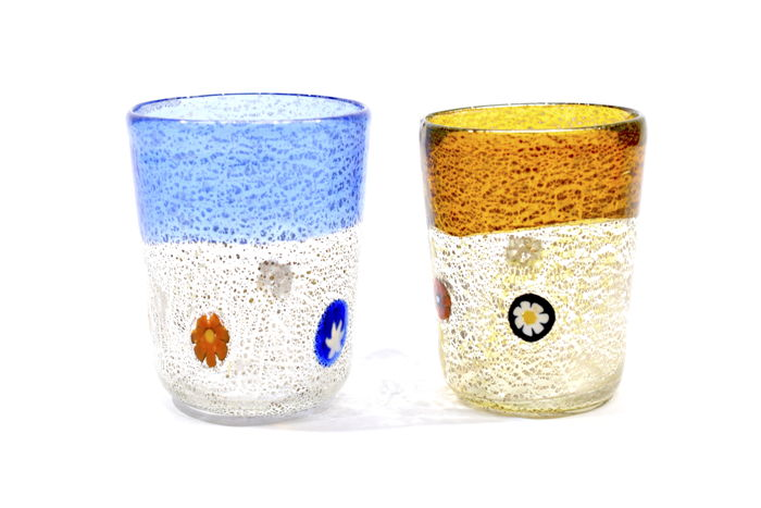 Zecchin - Set of liqueur glasses with Murrine and silver leaf