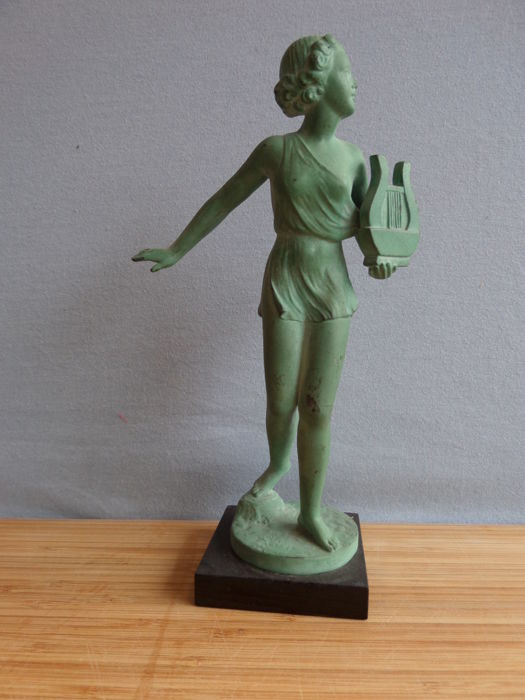Riviere - Dancing girl with a harp - Art Deco sculpture