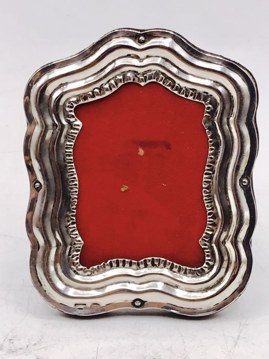 19th century handmade silver photo frame with pearl edge.