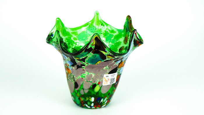 Imperio Rossi (Murano) - Murrina and silver green Fazzoletto vase