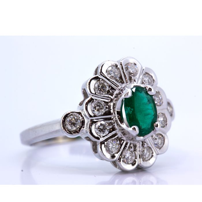 Ring - White gold - 0.75 ct - Emerald