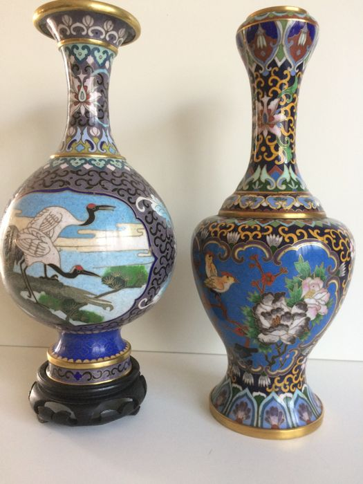 Two Chinese Cloisonn Vases With Birds China Ca 1960 Catawiki