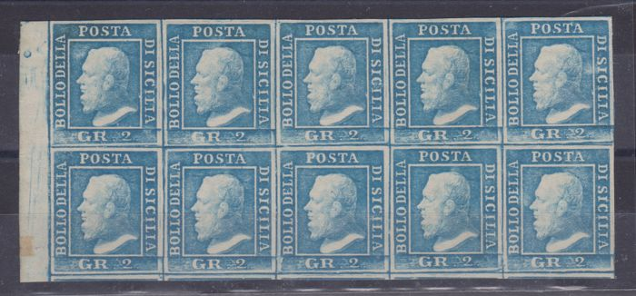 西西里島 1859 - 2 gr. III plate block of 10, light azure - Sassone N. 8
