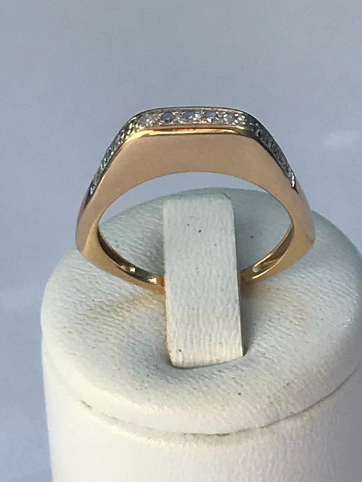 Wedding ring in 18 kt yellow gold and diamonds - Ring size 59 - 18.93 mm *No reserve price*