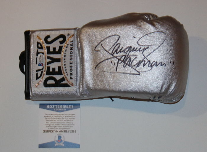 Manny Pacquiao Signed Silver Boxing Cleto Reyes Glove with BAS