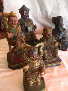 Five Chinese emperor carvings - China/Japan - 20th century