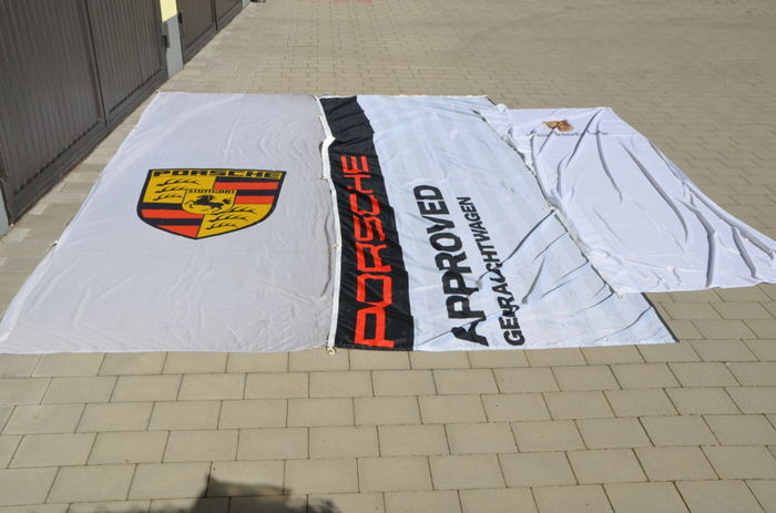 Decoratief object - 3 x ORIGINAL Porsche Fahnen Flaggen  - 1970-2010 (3 items)