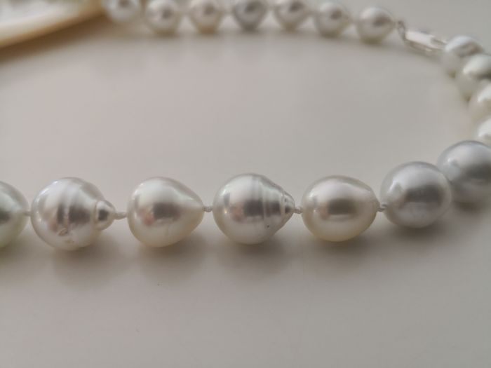 Australian South Sea Pearls necklace 10-13 mm natural silver color and luster, 34 pieces.   No reserve