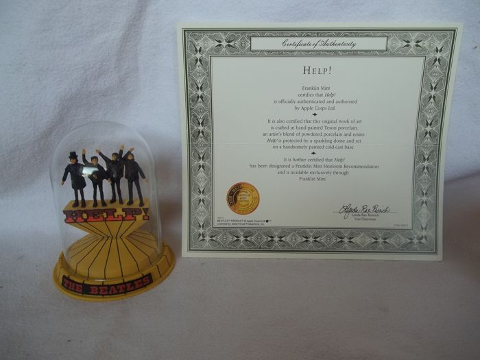 """Franklin Mint - The Beatles - Help"""" Sculpture with glass dome and c.o.a. - Like new."""