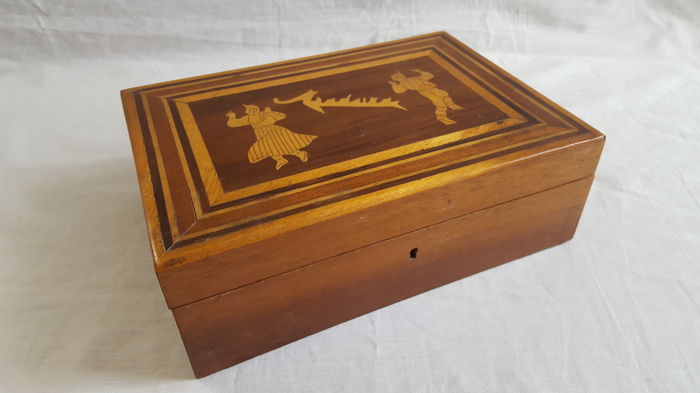 Solid oak storage  box with five compartiments - France, second half 20th century