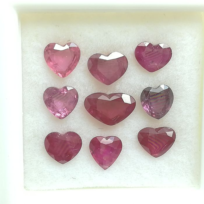 Lot of 9 Rubies - 3.49 ct