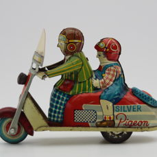 Marusan, Japan, 14 cm, SILVER PIGEON tin toy scooter, friction, around 1950-60