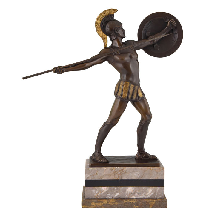 H. Rieder - Sculpture, Roman warrior with spear - Patinated bronze - Approx. 1920