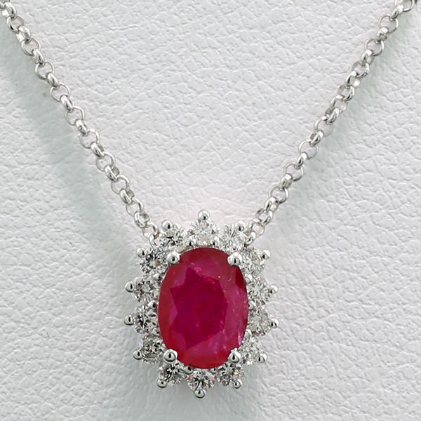 Enchanting ruby brilliant necklace made of 750 white gold - no reserve price
