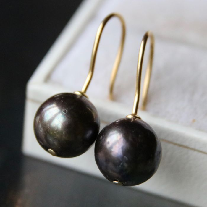 Earrings - Gold - Tahiti pearls ø  10.6mm. No reserve price.