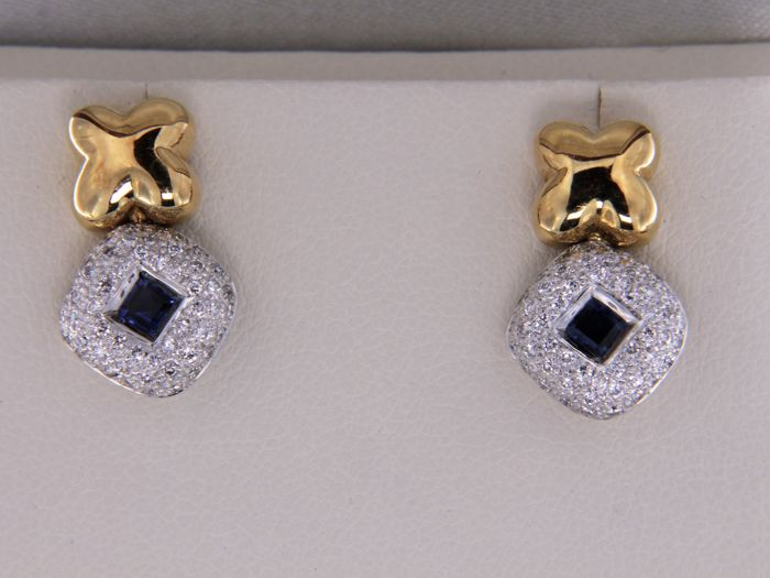 Earrings in 18 kt gold - sapphires and diamonds in pavé - Size 18.5 mm