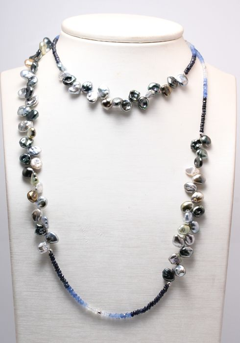 Long Keshi Tahitian Pearl Necklace of 8.5x10.5mm with Sapphire Gemstones - No Reserve Price