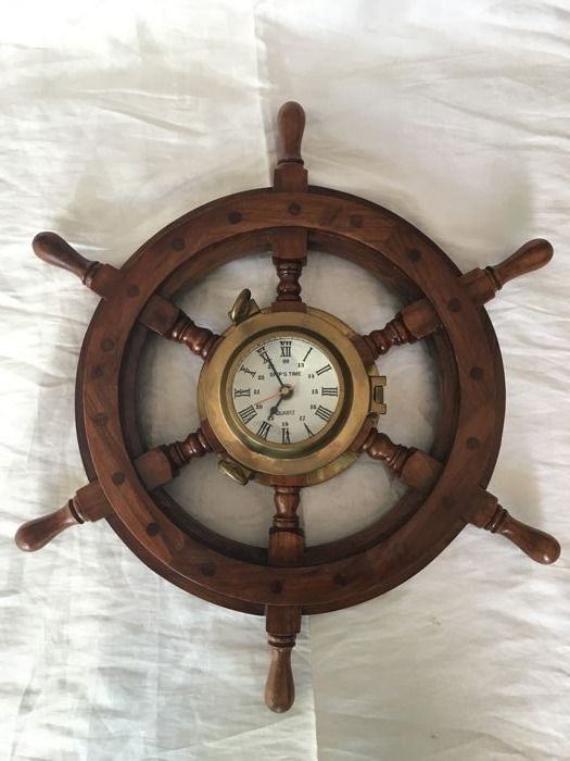 Vintage Ship's wheel and porthole clock, Original Ship's time glass magnifier with second hand for lighthouse, in wood and bronze Ø 48