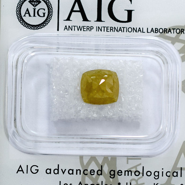 Natural Fancy Intense Greenish Yellow Diamond - 1.38 ct