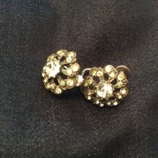 Antique silver ear studs with cut stones