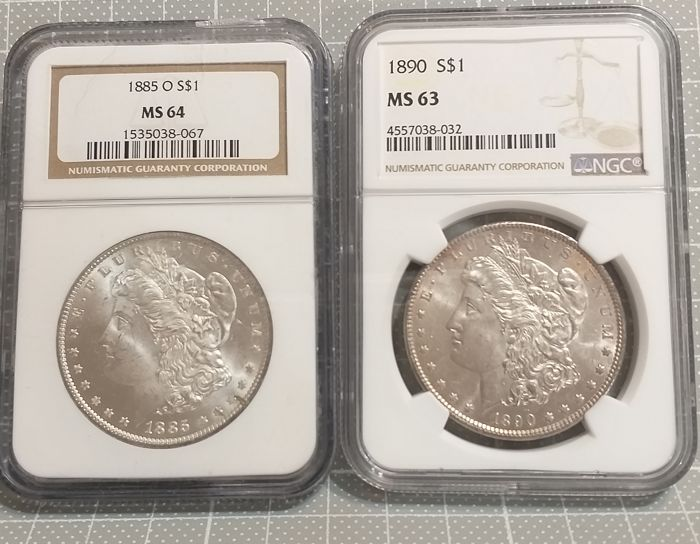 Used, United States - Dollar 1890+1885-O 'Morgan' in NGC Slabs (2 coins) - Silver for sale