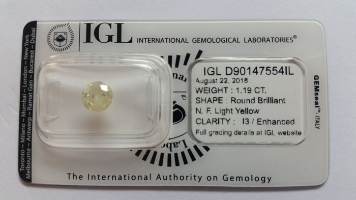 1.19ct   Round cut diamond Natural  IGL -No Reserve