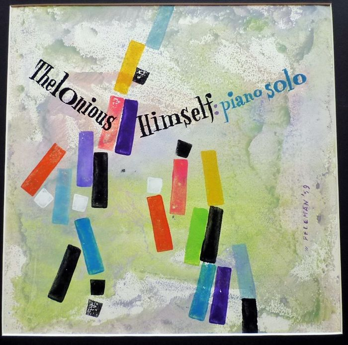 Theloniuos Himself : Piano Solo- Original gouache art work for this Jazz LP-Album-cover by Wies Peleman -1959