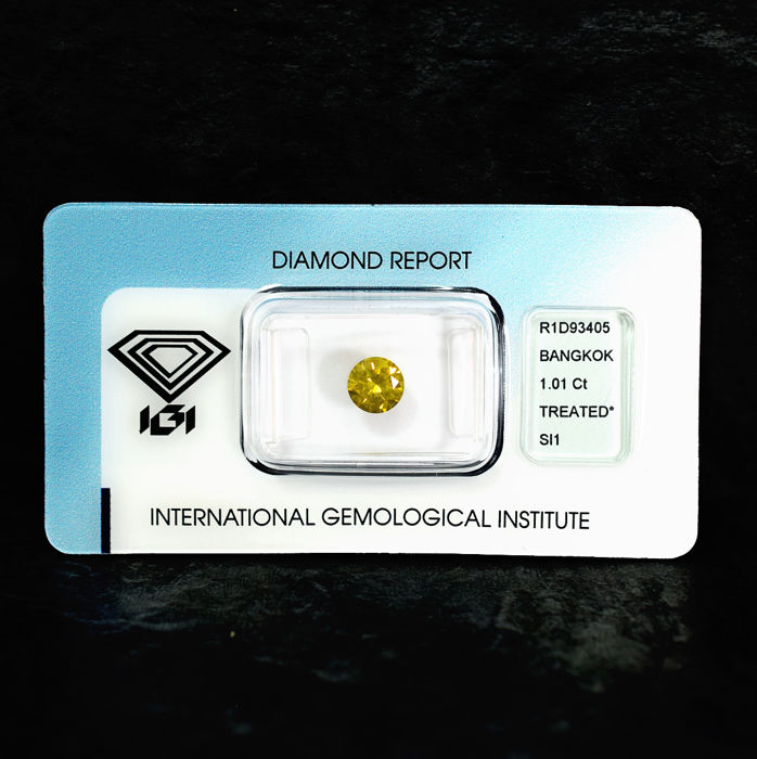 Diamant - 1.01 ct - Briljant - Fancy Intense Yellow - SI1