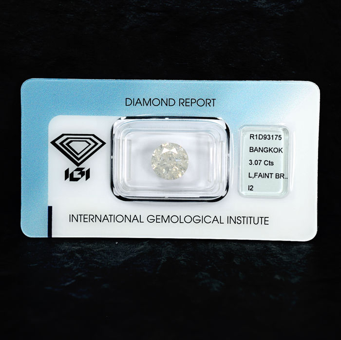 Diamond - 3.07 ct - Brilliant - L - I2 - NO RESERVE PRICE