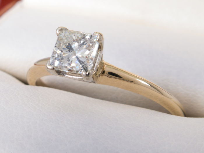 0.50 ct solitare princes cut Si1 diamond ring H color in 14kt gold- No Reserveprice