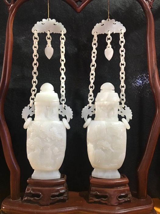Carved white jade vases with wooden stand - China - late 20th century