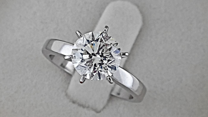 AIG 2.05 SI1 carat Round treated Diamond Solitaire Engagement Ring in Solid White Gold 14K - size 7