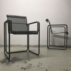 Unknown producer - Pair of Postmodern Perforated Metal Chairs