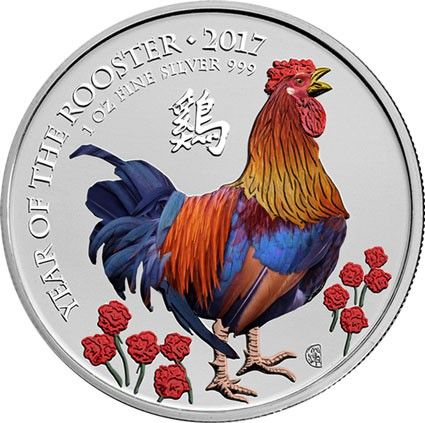 Verenigd Koninkrijk - 2 Pound 2017 Year of the Rooster - Coloured 1 Oz - Zilver