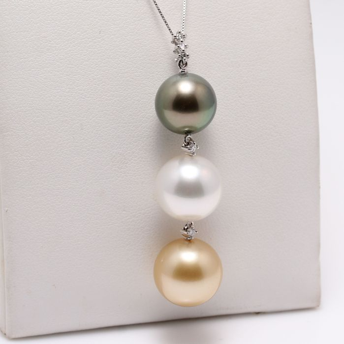 South Sea Pearl Pendant Accented by 0.11Ct Diamonds and Set in 18K White Gold