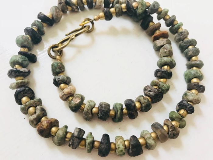 Necklace of mixed stone Precolumbian beads - State of Guerrero, Mexico - pre 1400