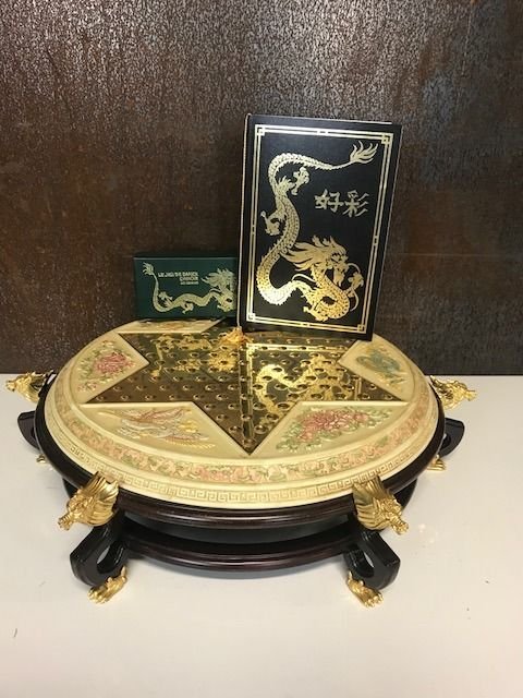 Franklin Mint - Chinese checkers / Halma - mahogany wood, gems and 24kt gold- plated elements
