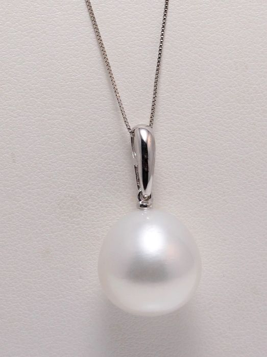 14mm Australian South Sea Pearl Drop Crafted in 14K WG - No Reserve Price