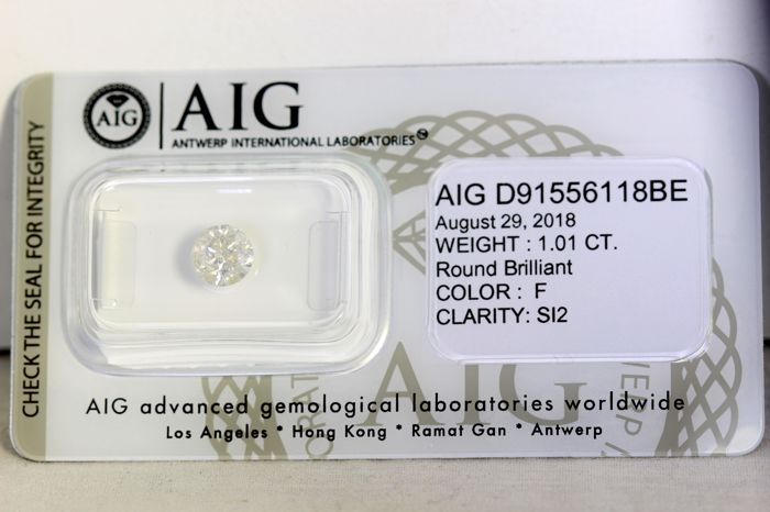 * NO RESERVE PRICE * - AIG Diamant - 1.01 ct - Color: F , Clarity: SI2