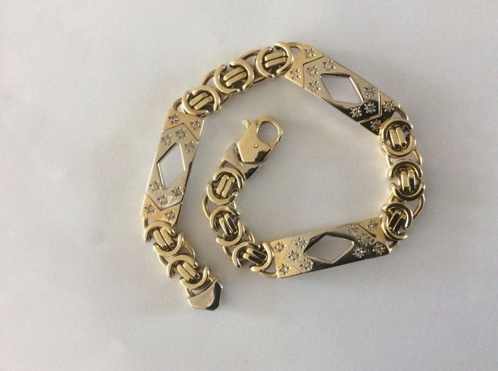 2 colour 14 kt gold bracelet with 30 diamonds, length: 22.5 cm