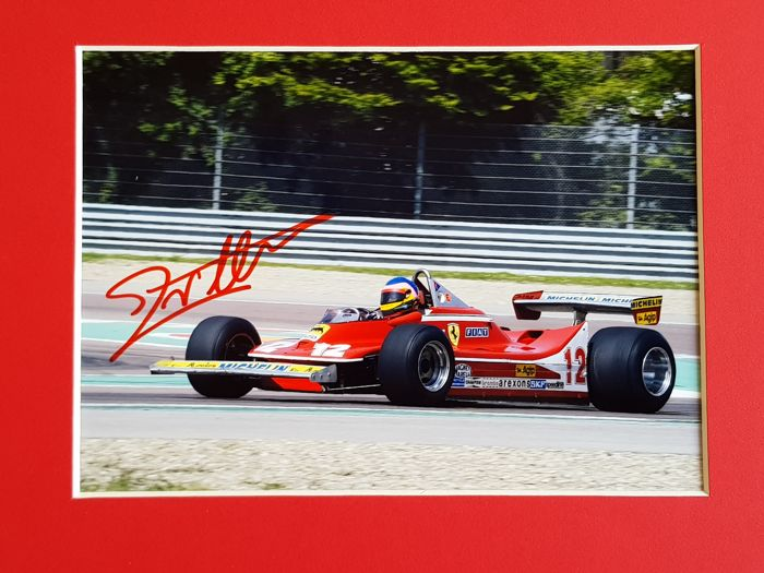 Jacques Villeneuve in Gilles Villeneuve Ferrari F1 - hand signed photo by Jacques + COA