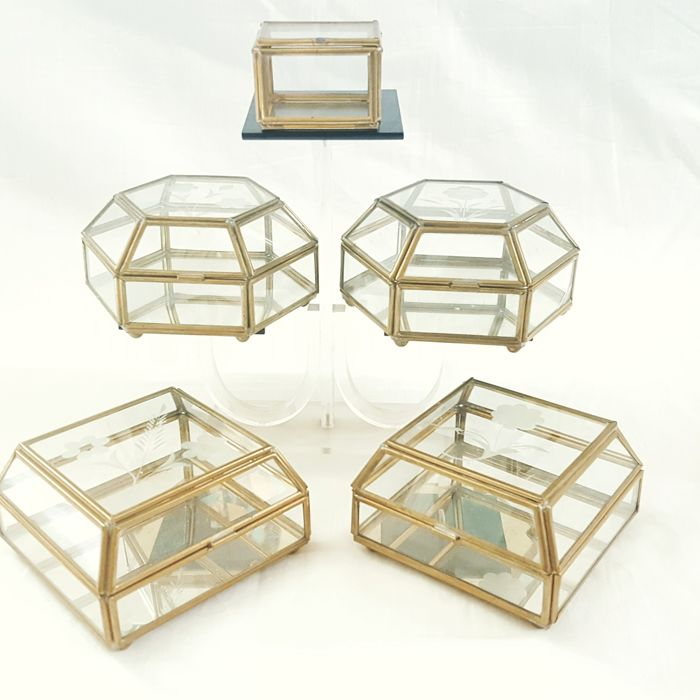 Five Cut Glass Gold Brass Frame Trinket Jewellery Boxes 20th